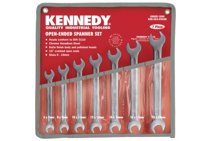 Kennedy.Metric Open Ended Spanner Set, 6 - 19mm, Set of 7